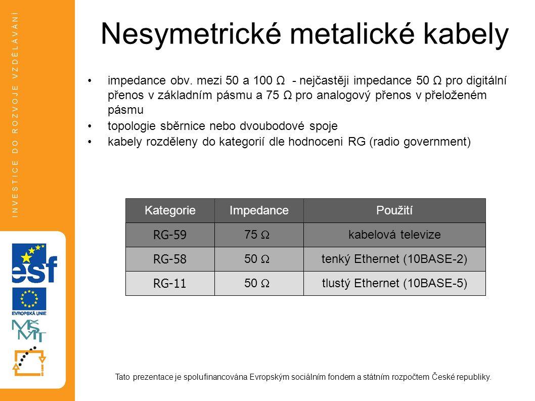 Nesymetrické metalické kabely