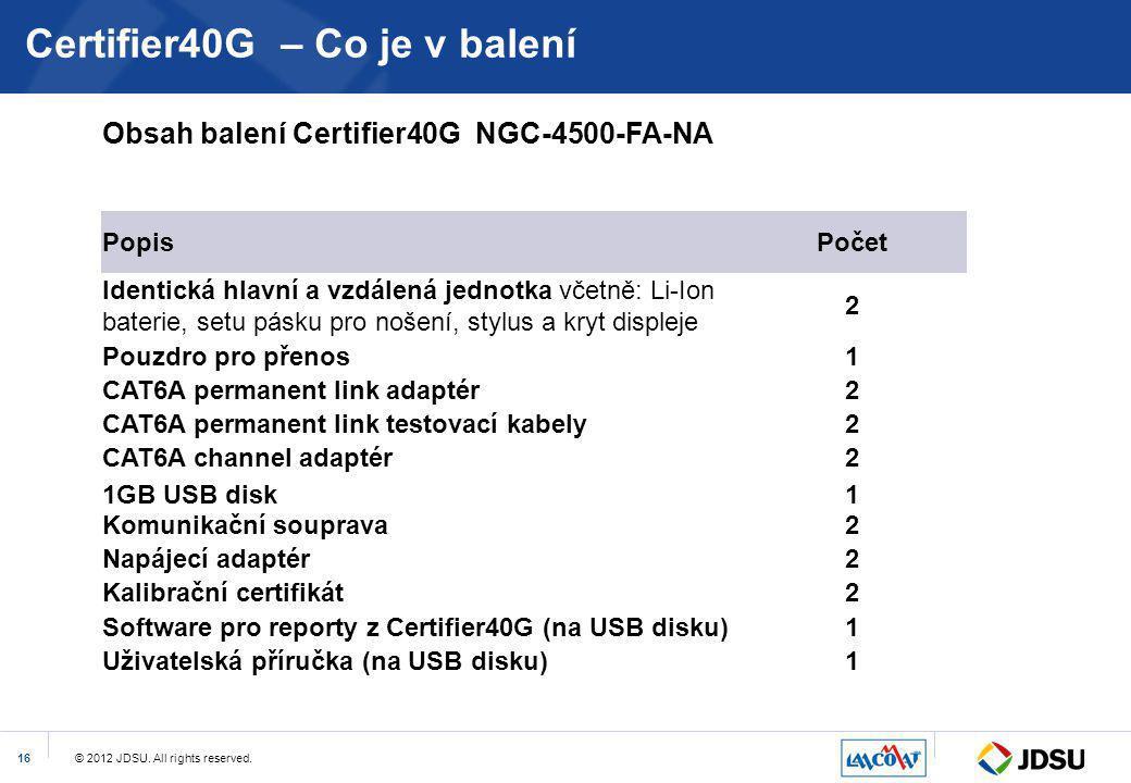 Certifier40G – Co je v balení
