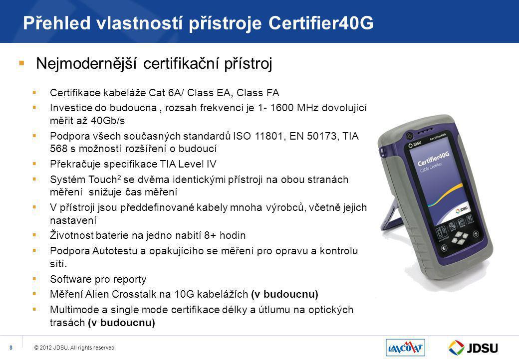 Přehled vlastností přístroje Certifier40G