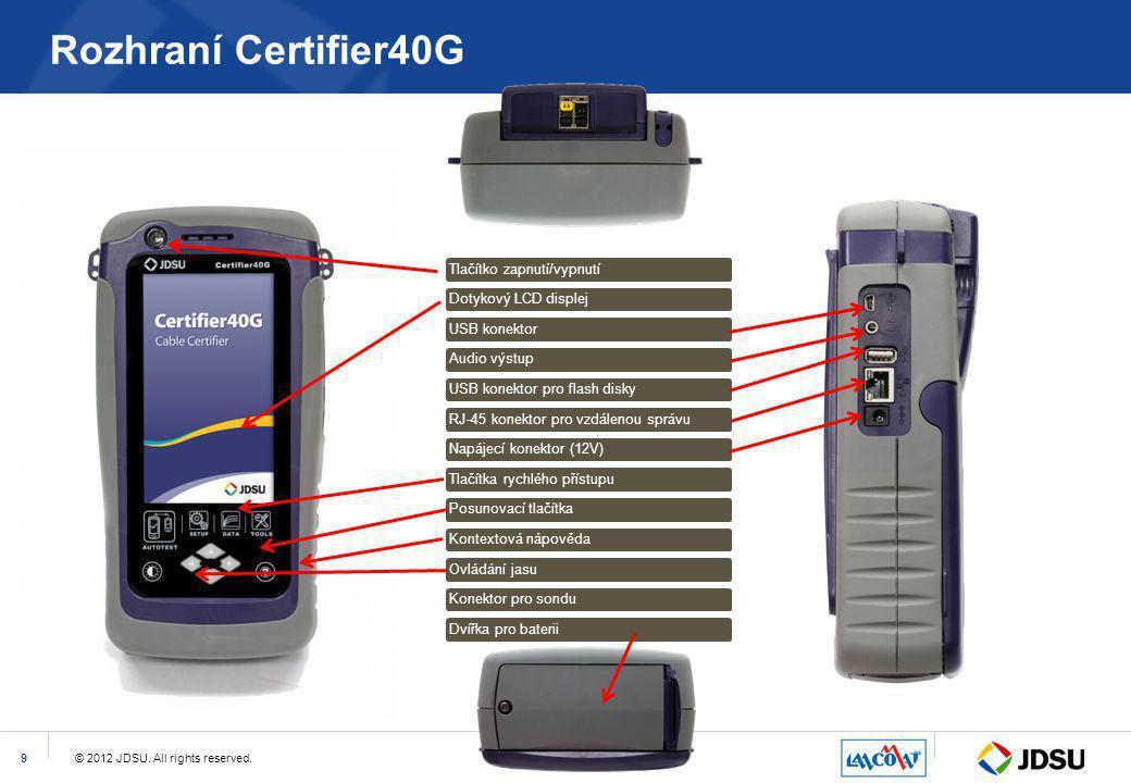 Rozhraní Certifier40G Tlačítko zapnutí/vypnutí Dotykový LCD displej