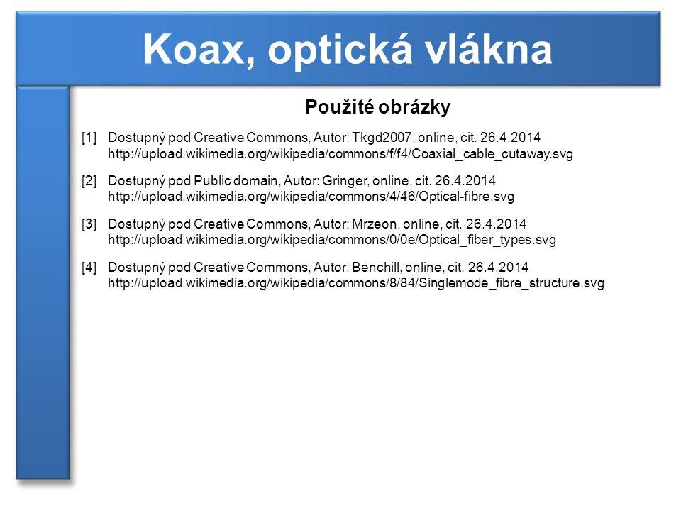 Koax, optická vlákna Použité obrázky