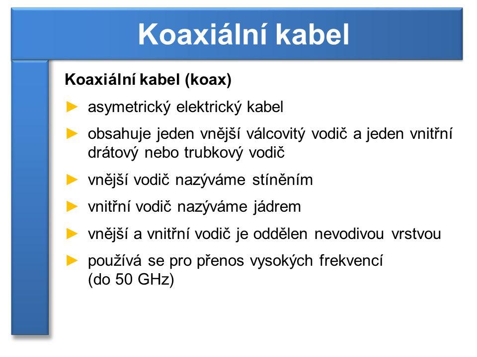 Koaxiální kabel Koaxiální kabel (koax) asymetrický elektrický kabel