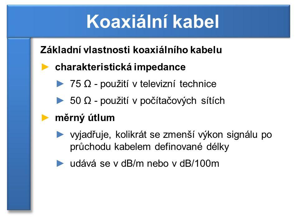 Koaxiální kabel Základní vlastnosti koaxiálního kabelu