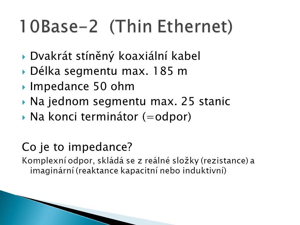10Base-2 (Thin Ethernet) Dvakrát stíněný koaxiální kabel