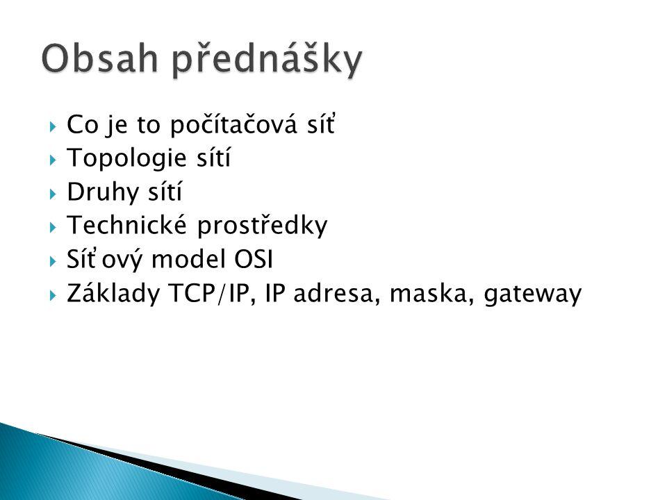 Obsah přednášky Co je to počítačová síť Topologie sítí Druhy sítí