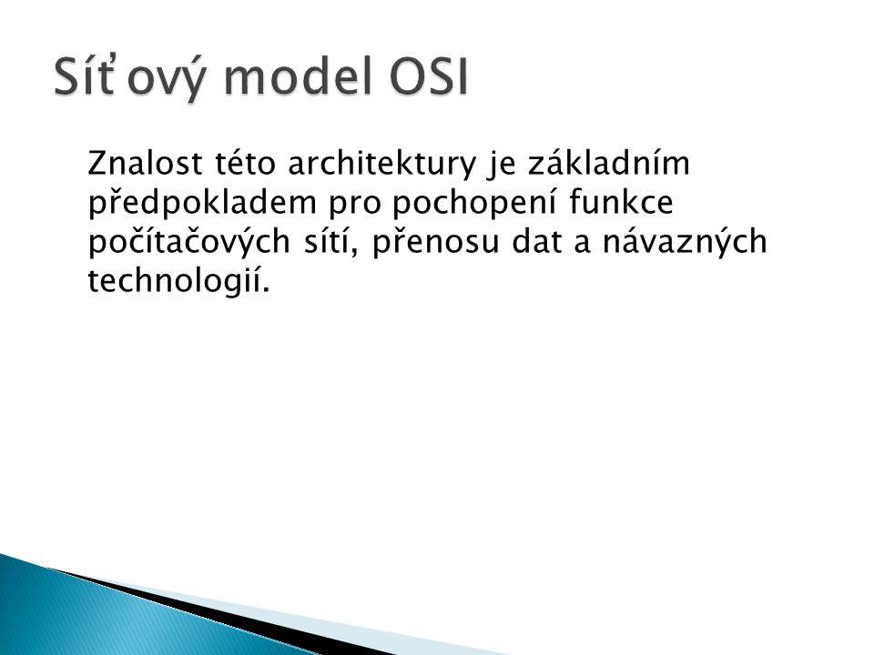 Síťový model OSI Znalost této architektury je základním předpokladem pro pochopení funkce počítačových sítí, přenosu dat a návazných technologií.