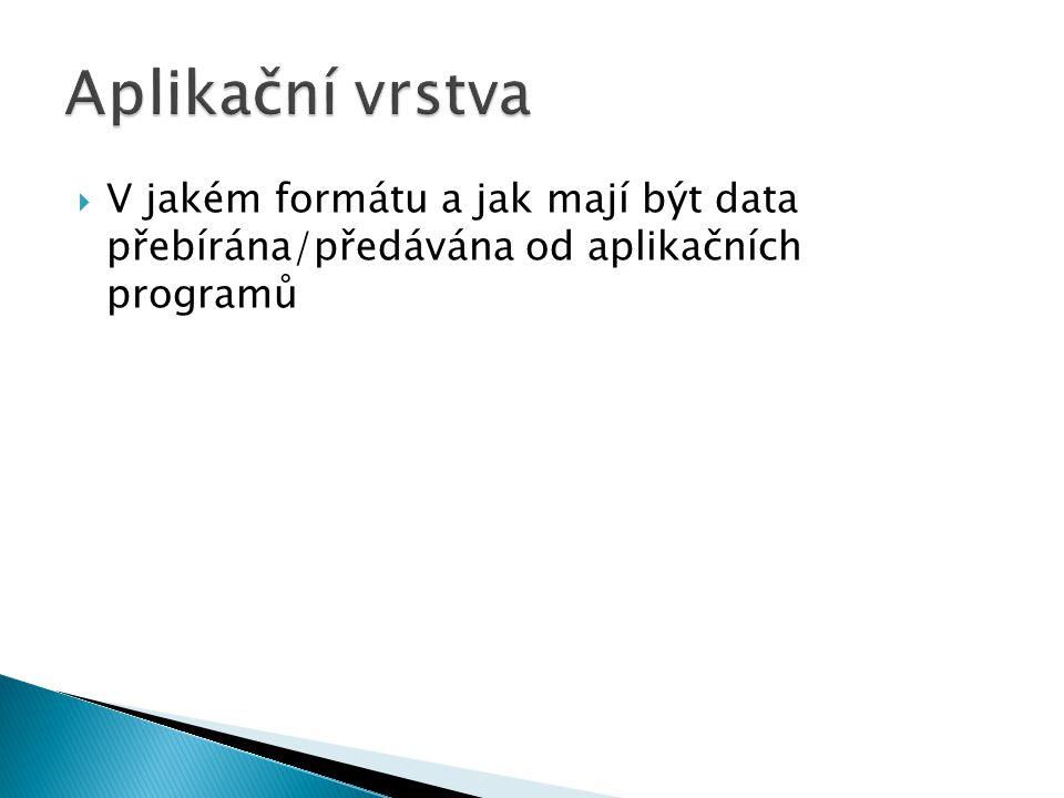 Aplikační vrstva V jakém formátu a jak mají být data přebírána/předávána od aplikačních programů