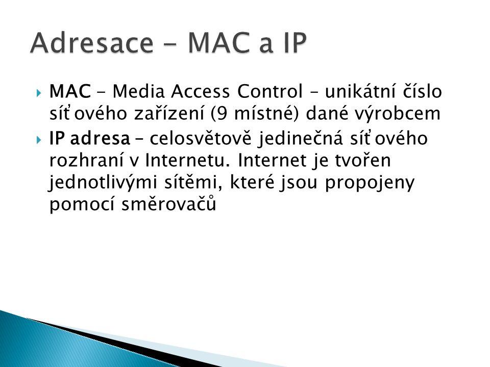 Adresace - MAC a IP MAC - Media Access Control – unikátní číslo síťového zařízení (9 místné) dané výrobcem.