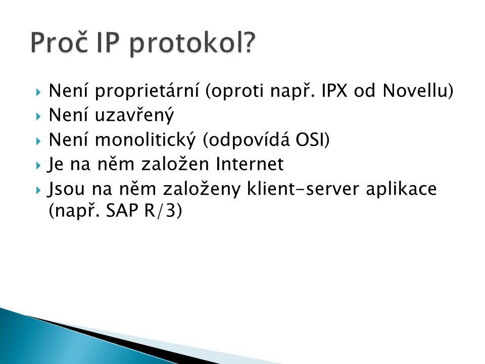 Proč IP protokol Není proprietární (oproti např. IPX od Novellu)