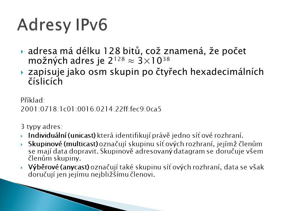 Adresy IPv6 adresa má délku 128 bitů, což znamená, že počet možných adres je 2128 ≈ 3×1038.