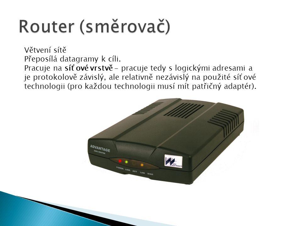 Router (směrovač) Větvení sítě Přeposílá datagramy k cíli.