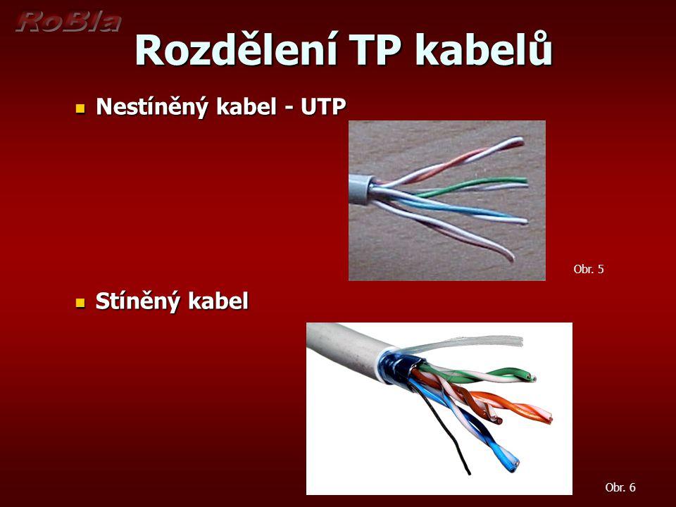 Rozdělení TP kabelů Nestíněný kabel - UTP Stíněný kabel Obr. 5 Obr. 6