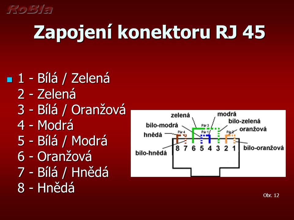 Zapojení konektoru RJ 45 1 - Bílá / Zelená 2 - Zelená 3 - Bílá / Oranžová 4 - Modrá 5 - Bílá / Modrá 6 - Oranžová 7 - Bílá / Hnědá 8 - Hnědá.