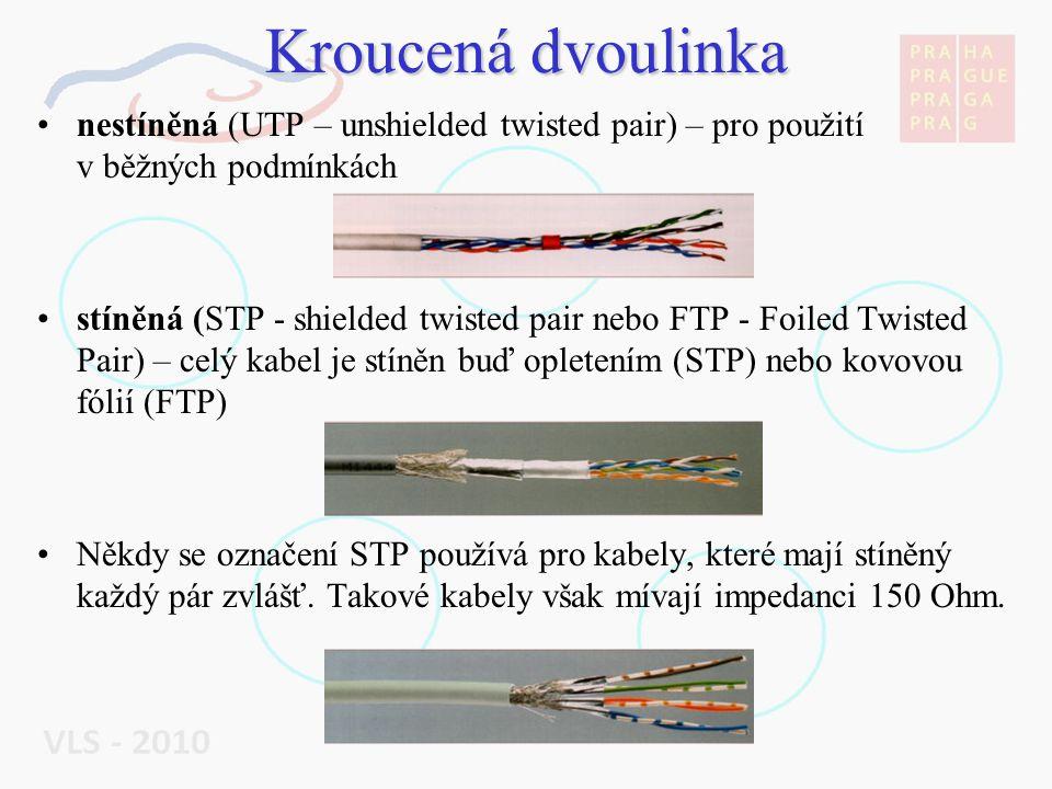 Kroucená dvoulinka nestíněná (UTP – unshielded twisted pair) – pro použití v běžných podmínkách.