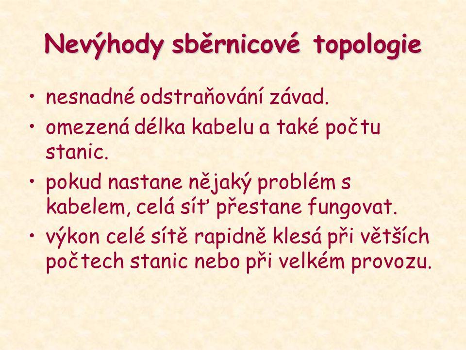 Nevýhody sběrnicové topologie