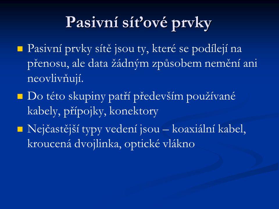 Pasivní síťové prvky Pasivní prvky sítě jsou ty, které se podílejí na přenosu, ale data žádným způsobem nemění ani neovlivňují.