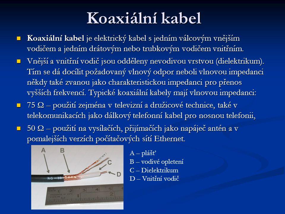 Koaxiální kabel Koaxiální kabel je elektrický kabel s jedním válcovým vnějším vodičem a jedním drátovým nebo trubkovým vodičem vnitřním.