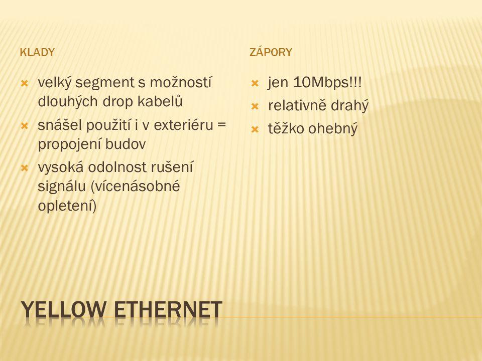 yellow Ethernet velký segment s možností dlouhých drop kabelů
