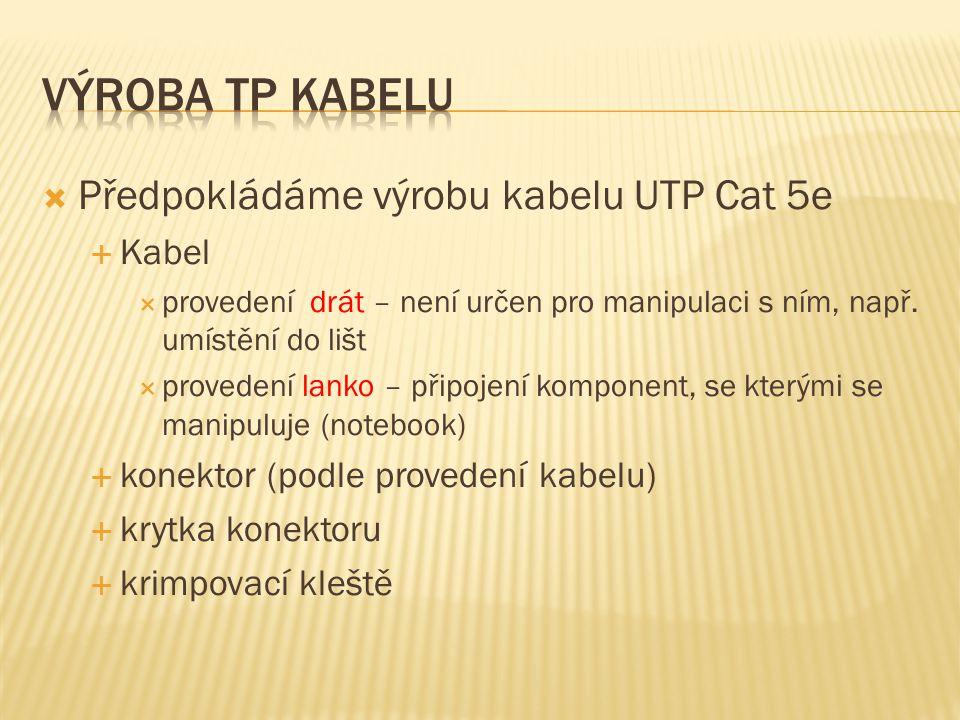 Výroba TP kabelu Předpokládáme výrobu kabelu UTP Cat 5e Kabel