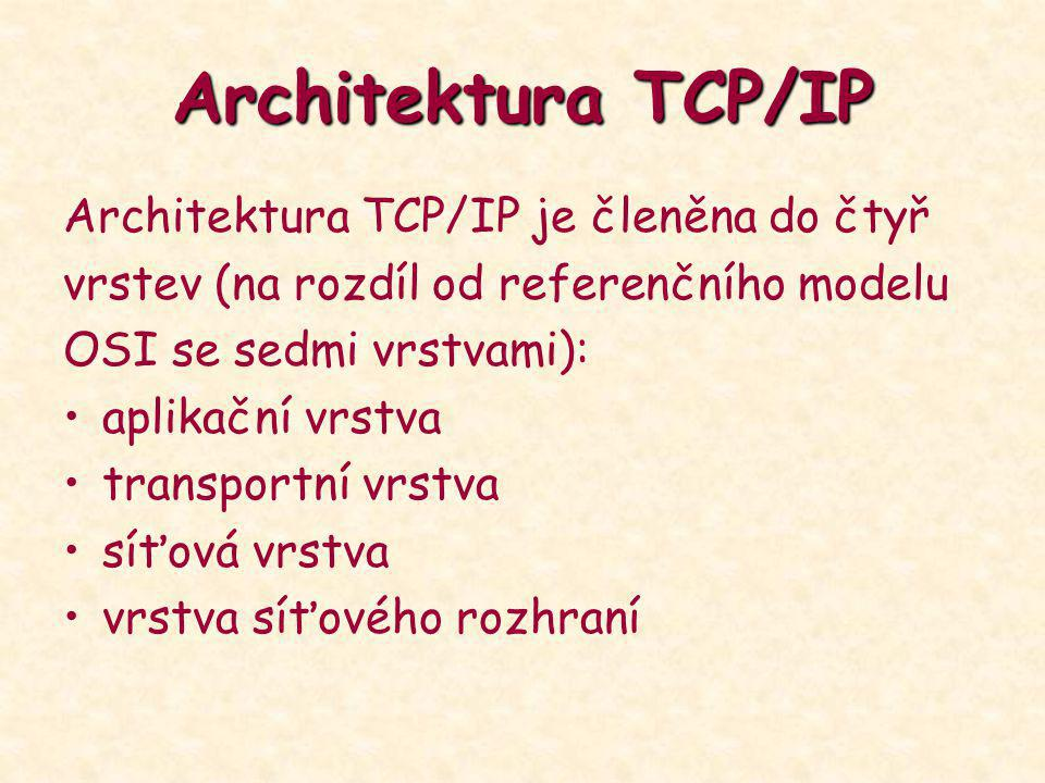 Architektura TCP/IP Architektura TCP/IP je členěna do čtyř