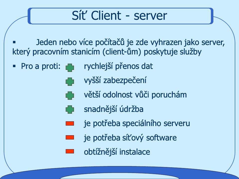 Síť Client - server Jeden nebo více počítačů je zde vyhrazen jako server, který pracovním stanicím (client-ům) poskytuje služby.