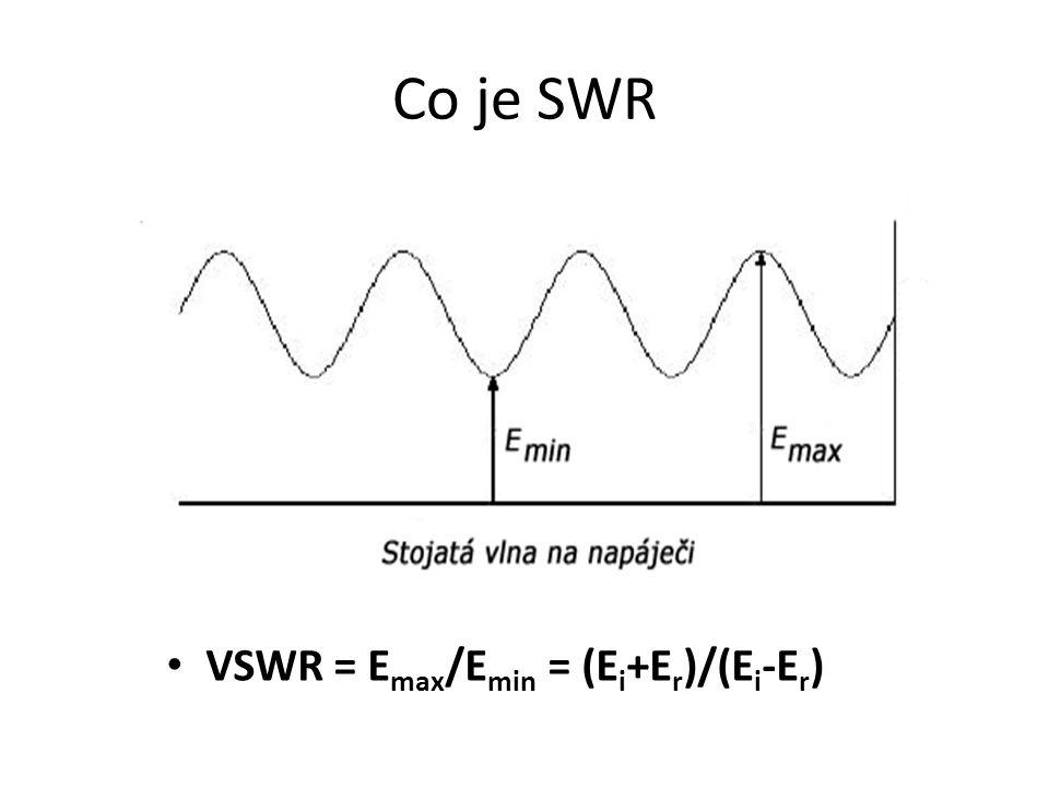 Co je SWR VSWR = Emax/Emin = (Ei+Er)/(Ei-Er)