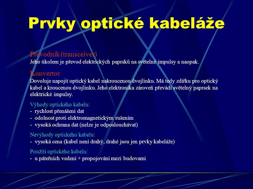 Prvky optické kabeláže
