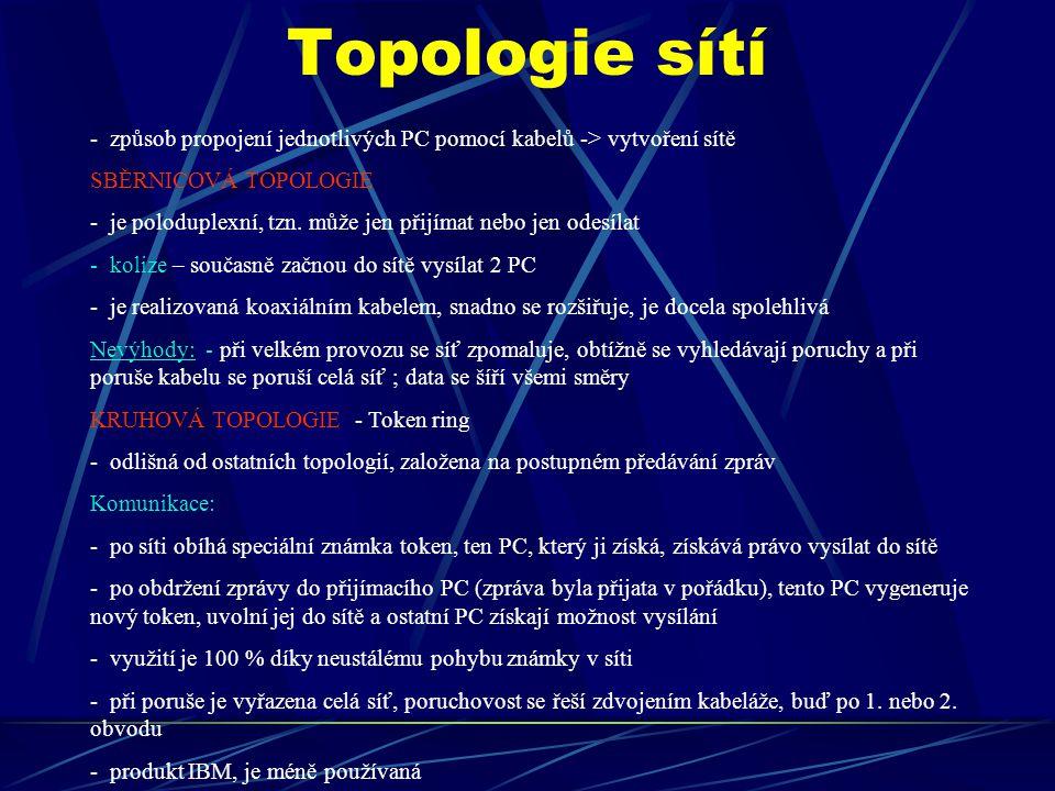 Topologie sítí způsob propojení jednotlivých PC pomocí kabelů -> vytvoření sítě. SBĚRNICOVÁ TOPOLOGIE.