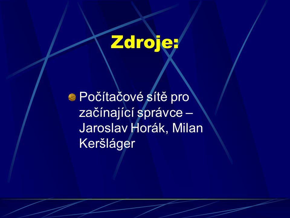 Zdroje: Počítačové sítě pro začínající správce – Jaroslav Horák, Milan Keršláger