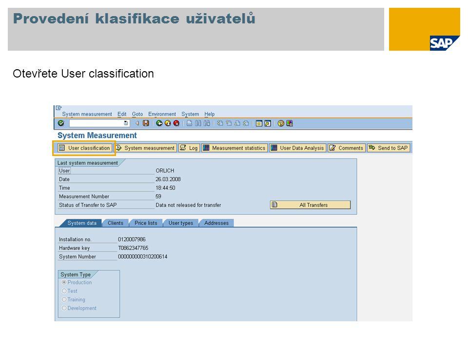 Provedení klasifikace uživatelů