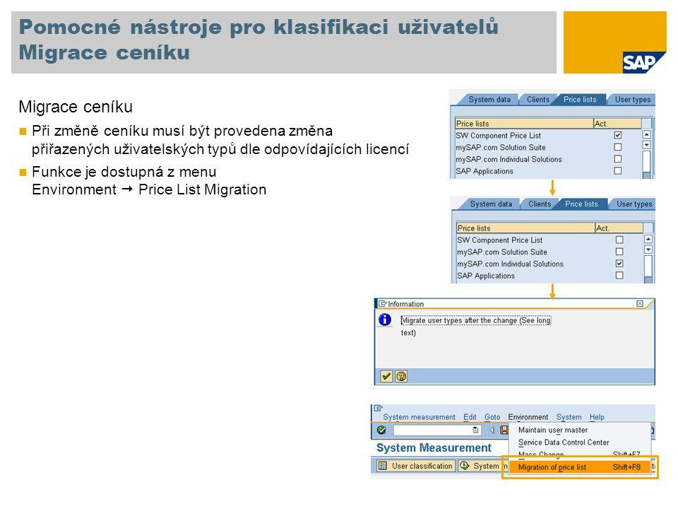 Pomocné nástroje pro klasifikaci uživatelů Migrace ceníku