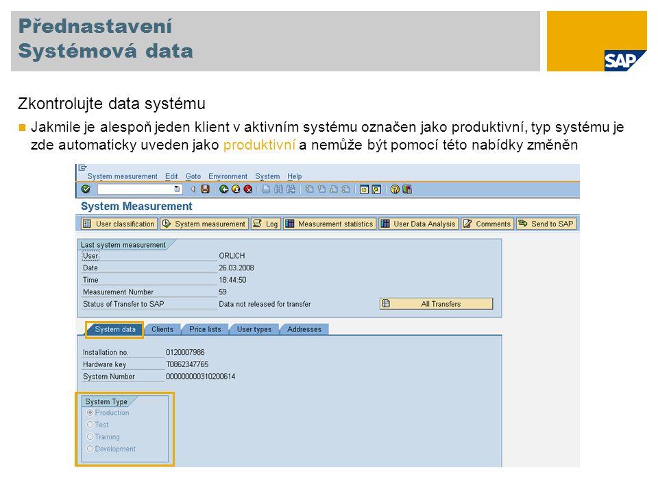 Přednastavení Systémová data