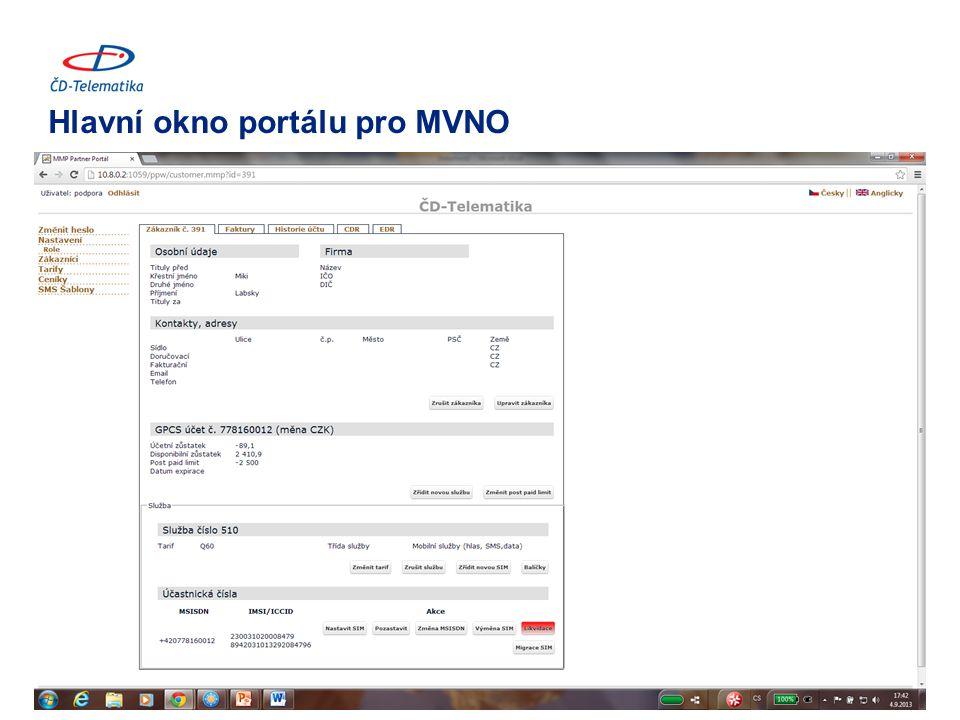 Hlavní okno portálu pro MVNO