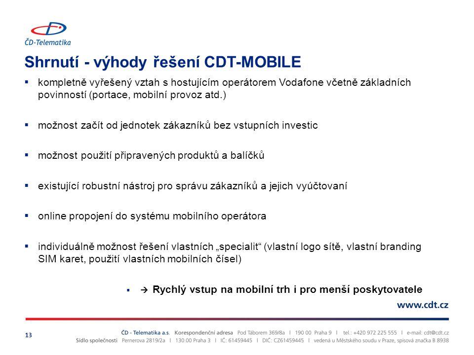Shrnutí - výhody řešení CDT-MOBILE