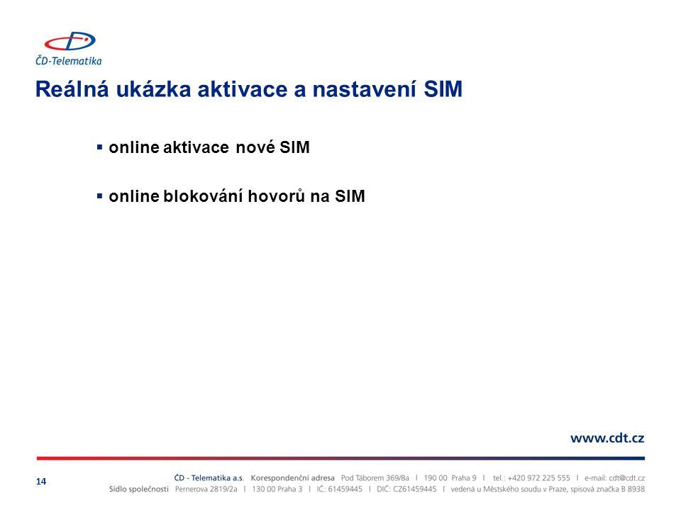 Reálná ukázka aktivace a nastavení SIM