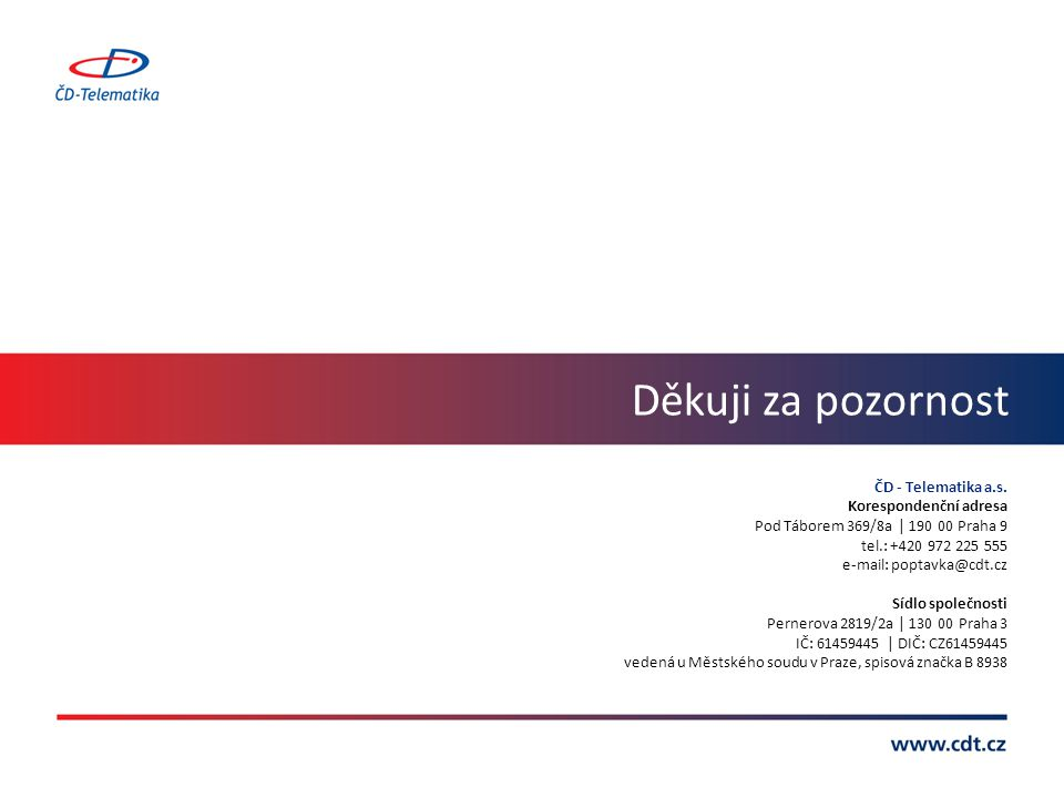 Děkuji za pozornost ČD - Telematika a.s. Korespondenční adresa