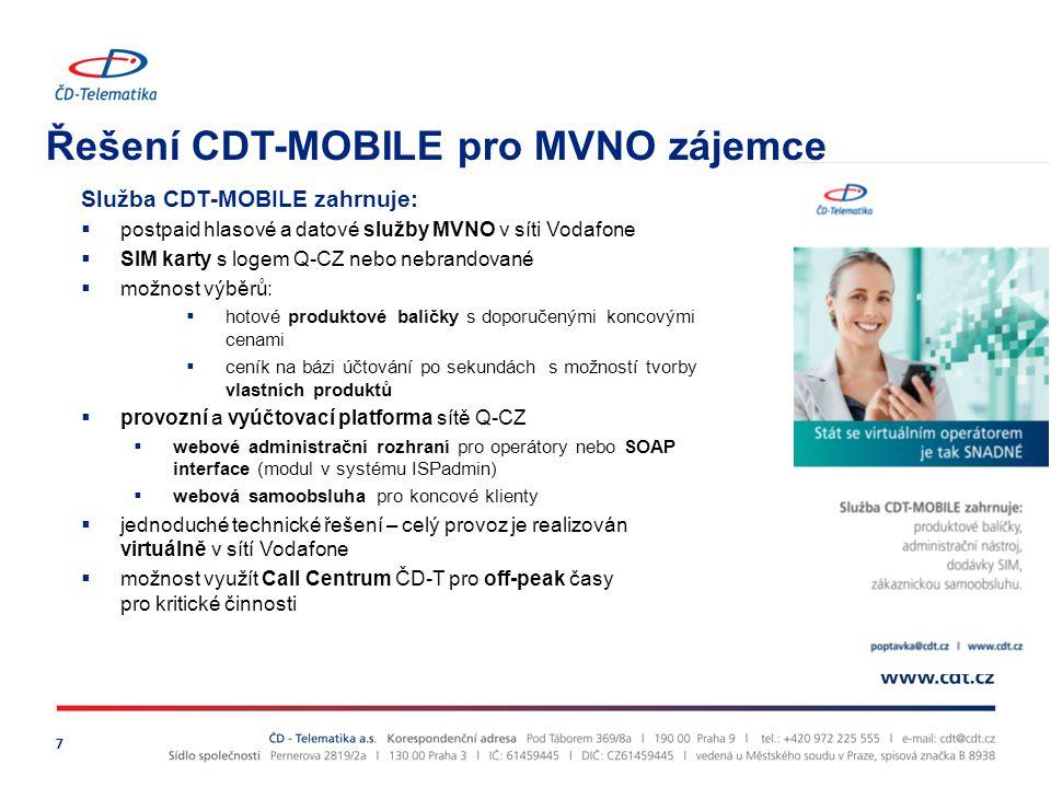 Řešení CDT-MOBILE pro MVNO zájemce