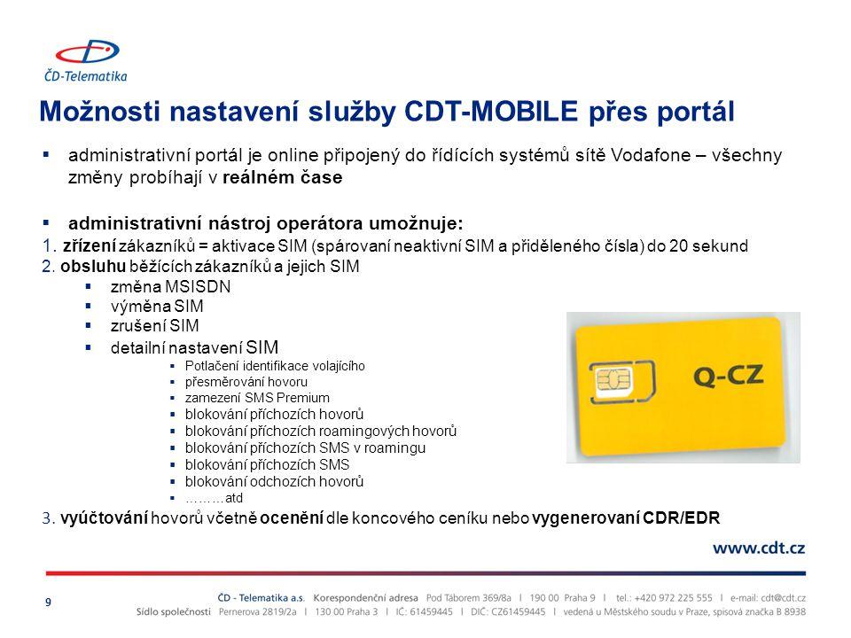 Možnosti nastavení služby CDT-MOBILE přes portál