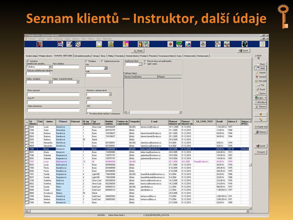 Seznam klientů – Instruktor, další údaje