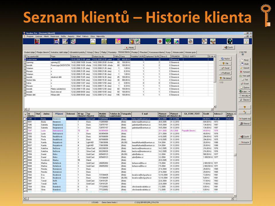 Seznam klientů – Historie klienta