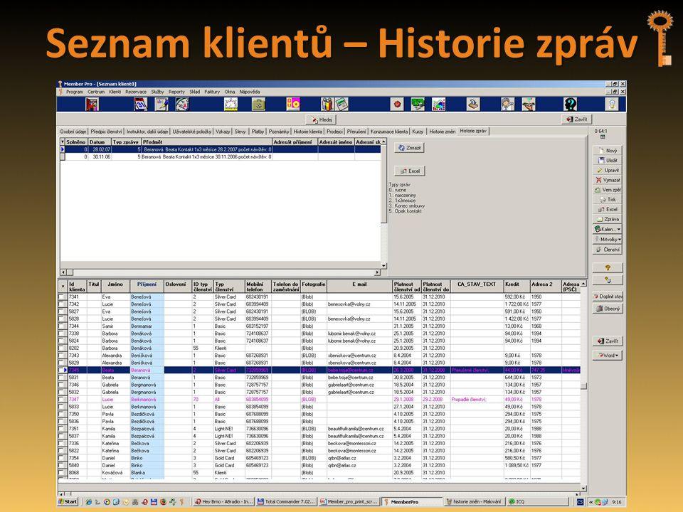 Seznam klientů – Historie zpráv