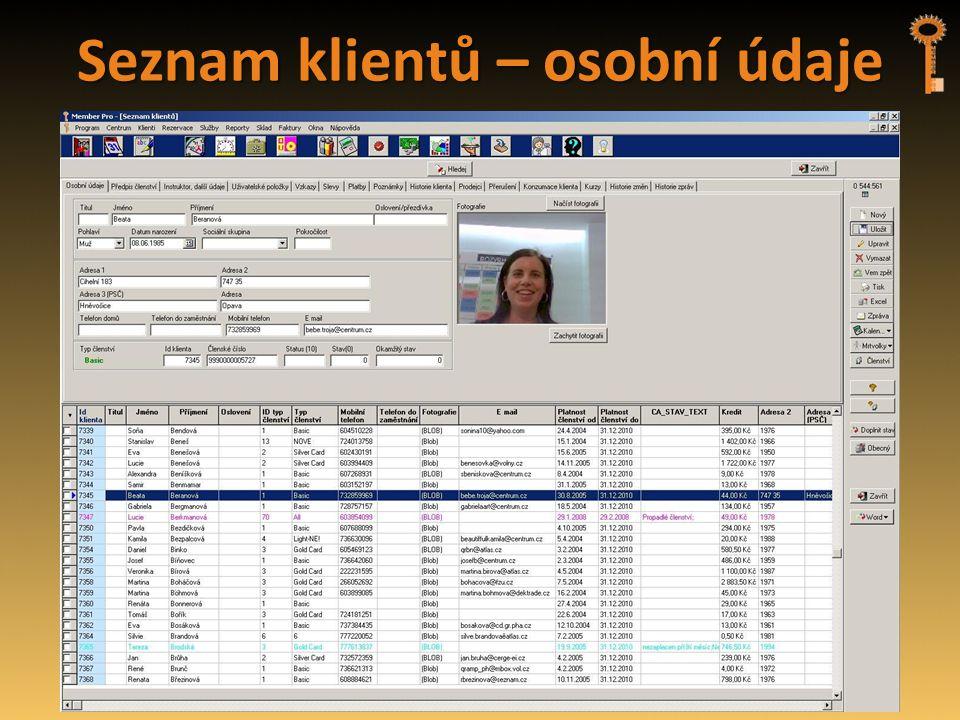 Seznam klientů – osobní údaje