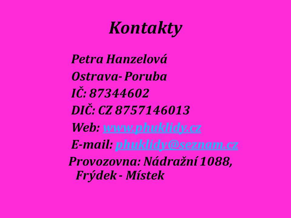 Kontakty Petra Hanzelová Ostrava- Poruba IČ: 87344602