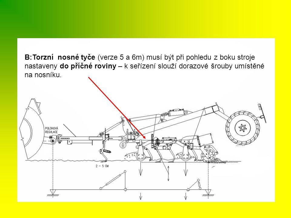 B:Torzní nosné tyče (verze 5 a 6m) musí být při pohledu z boku stroje nastaveny do příčné roviny – k seřízení slouží dorazové šrouby umístěné na nosníku.