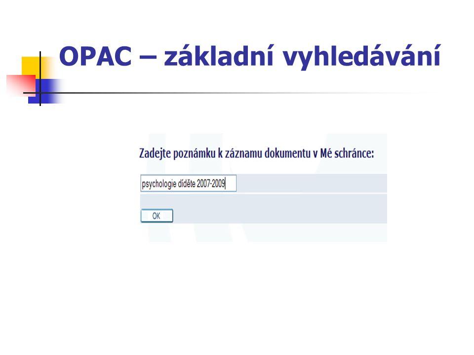 OPAC – základní vyhledávání