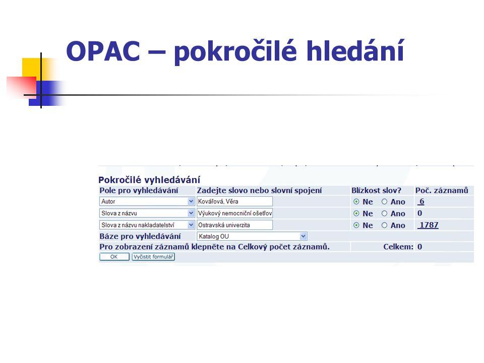 OPAC – pokročilé hledání