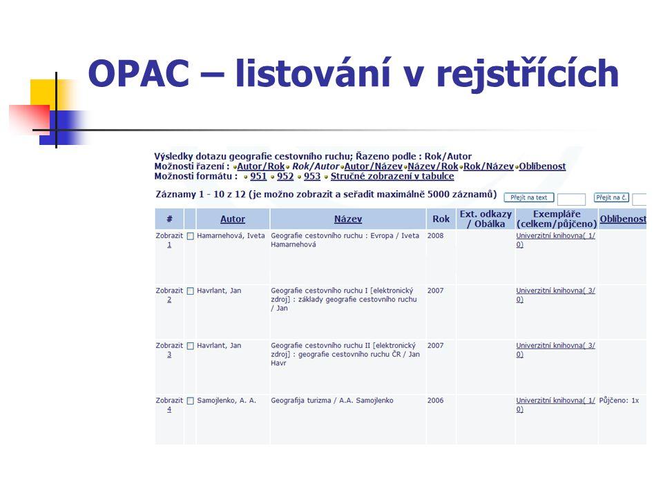 OPAC – listování v rejstřících