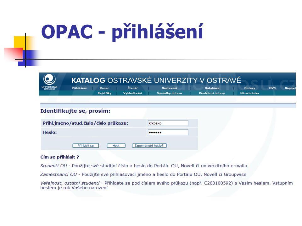 OPAC - přihlášení