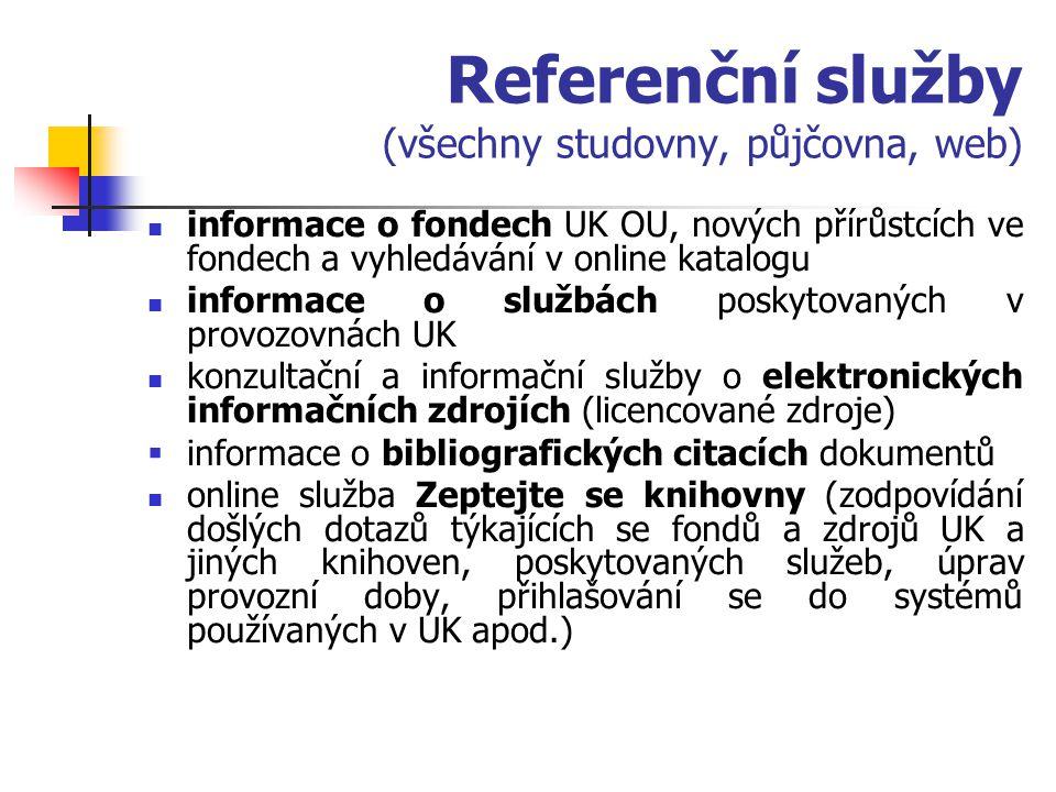 Referenční služby (všechny studovny, půjčovna, web)