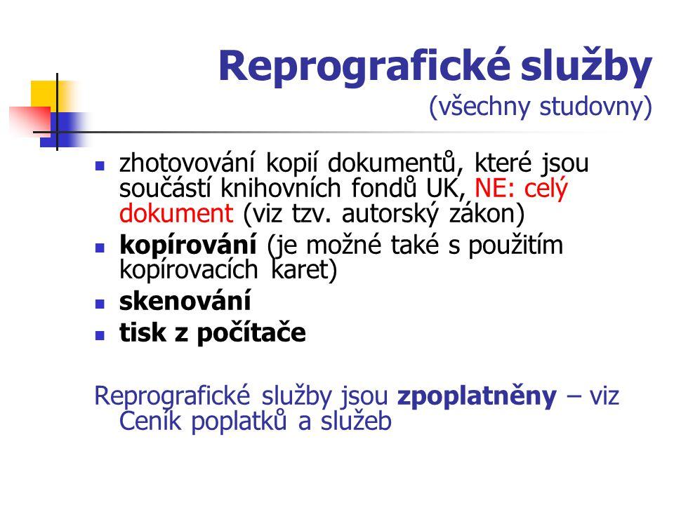 Reprografické služby (všechny studovny)